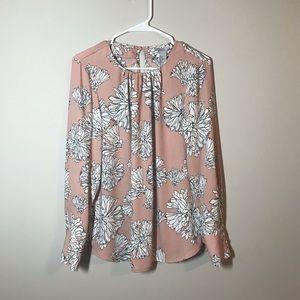 H&M Blush Floral Print Long Sleeve Blouse Size 10